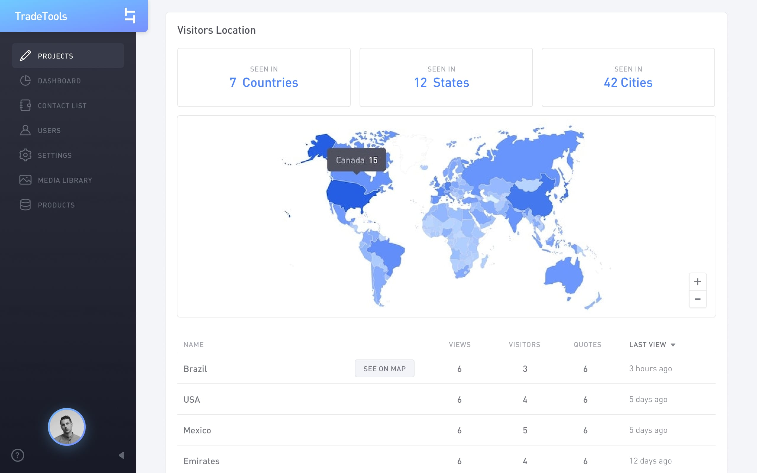 Browser screen with a map showing how many visitors came from each location.